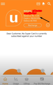 my ufone app your balance is